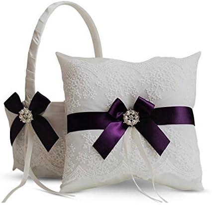 Flower girl basket and ring bearer pillow Purple wedding Ring pillow Flower baskets for wedding Ring pillow and flower basket sets Purple