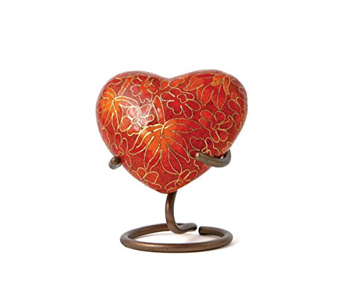 Autumn Leaves Bronze Heart Memorial Keepsake Urns - Extra Small - Holds Up to 3 Cubic Inches of Ashes - Cloisonne Red Cremation Urn for Ashes