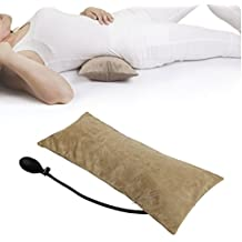 Tcare Multifunctional Portable Air Inflatable Pillow for Lower Back Pain,Orthopedic Lumbar Support Cushion,Travel,Waist,Knee,Hip,Sciatica and Joint Pain Relief,Orthopedic Side Sleeper (Brown)
