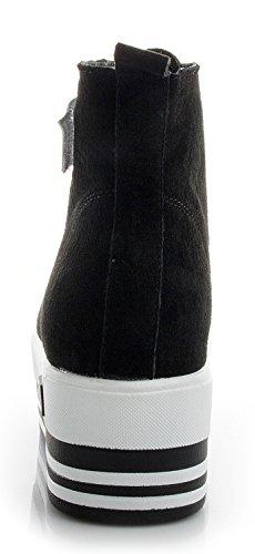 D2c Beauty Womens Snake Suede Skinned High-end Vetersluiting Velcro Wedge Synthetische Sneakers Zwart-4