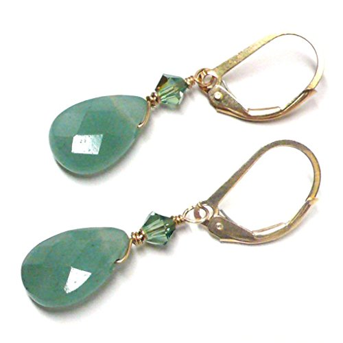 Green Aventurine Briolette Lever Back Earrings Swarovski Crystal Gold-Filled (Green Aventurine Briolette Earrings)