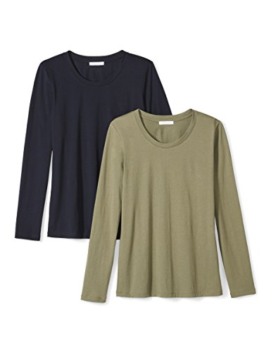 Amazon Brand - Daily Ritual Women's Lightweight 100% Supima Cotton Long-Sleeve Crew Neck T-Shirt, Navy/Olive Green, X-Small