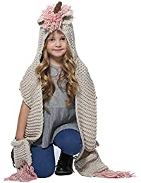 Winter Kids Warm Animal Hats Knitted Hood Scarf Beanies