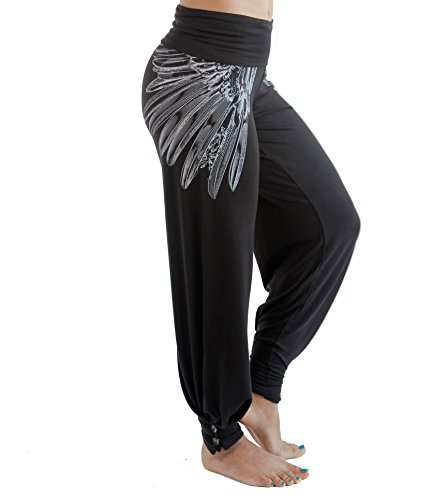 Hali Cali Women's Straight Casual Loose Wide Leg fold Over Comfy Palazzo Pants (L, Black Wings with Buttons) Printed Lounge Pants