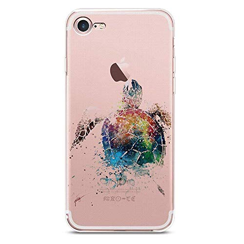 iPhone 8 Plus Case, JICUIKE [Painted Print] Cute Animal Slim Personality Design Clear Silicone Bumper Lovely Sea Turtle Back Cover for iPhone 7 Plus, 5.5 Inch [Watercolor Turtles]