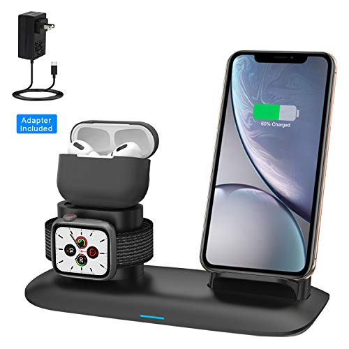 Wireless Charger, Wireless Charging Station for iPhone AirPods and Apple Watch, 3-in-1 Qi 7.5W/10W Fast Charging Stand Works for iPhone 11/11 Pro/8/8Plus/Xs MAX/XS/XR and iWatch Series 5 4 3 2 1