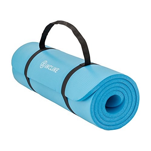 Incline Fit Extra Thick & Long Comfort Foam Yoga/Exercise Mat with Carrying Strap, Marine Blue