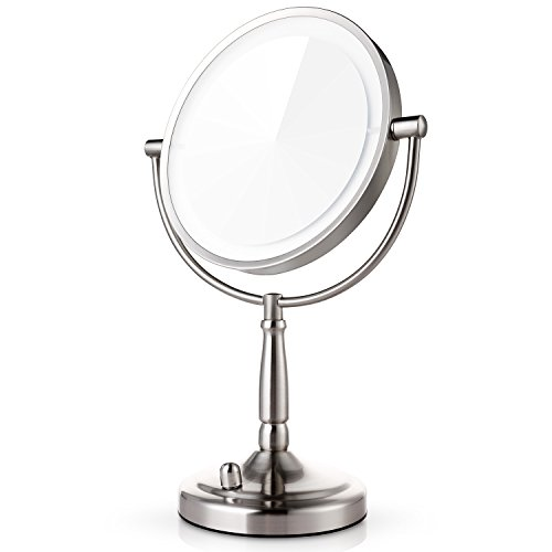 Miusco 7X Magnifying Lighted Makeup Mirror, 8 Inch Two Sided LED Vanity Mirror, Battery and Adapter