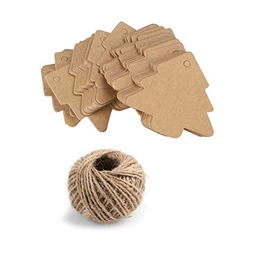 AKOAK 100 Pieces Blank Brown Christmas Tree Gift Tags Kraft Paper Gift Wrap Tags with 100 Feet Natural Jute Twine