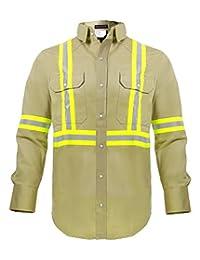 Flame Resistant FR High Visibility Hi Vis Shirt - 88% C/12% N - 7oz (X-Large, Khaki)