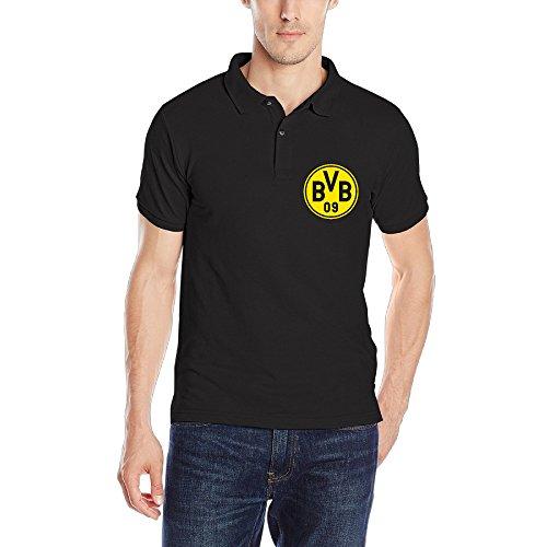 Dortmund Footbal Club Logo Adult Organic Cotton Polo Tshirt Size XXL Color Black