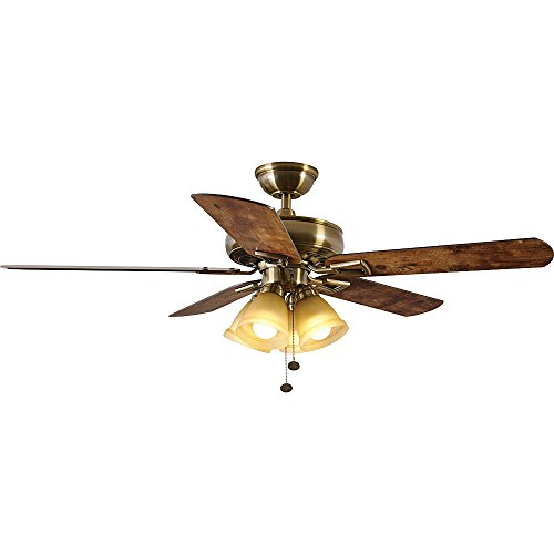 Hampton Bay 91113 Antique Brass Ceiling Fan with Light Kit