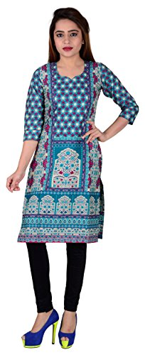 SD Fabrics® 100% Pure Cotton Multi Coloured Unstitched Kurti Fabric Material