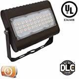 DLC-Listed LED 50 Watt Exterior Commercial Floodlight, 4000K Neutral White, 120V-277V, Comparable to 175-250W MH-HPS, 4900 Lumens, Bracket Wall Mount, UL-Listed, LEDrock Warranty Based Denver, CO, USA