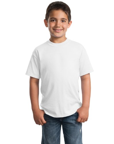 Port & Company PC55Y Youth 50/50 Cotton/Poly T-Shirt - White - XS