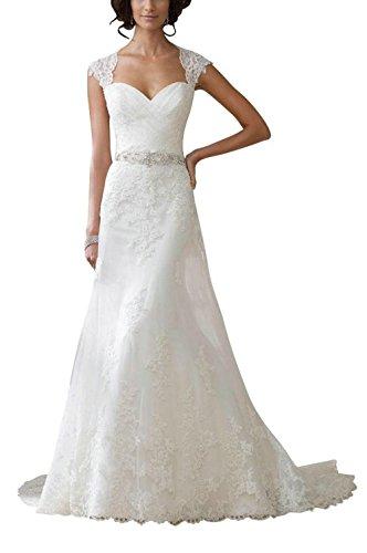 Blanco corazón Largo Mujer Vestido Forma del del JAEDEN A Manga Vestido de de Novia Boda Casquillo Line Encaje TwRw8qxP