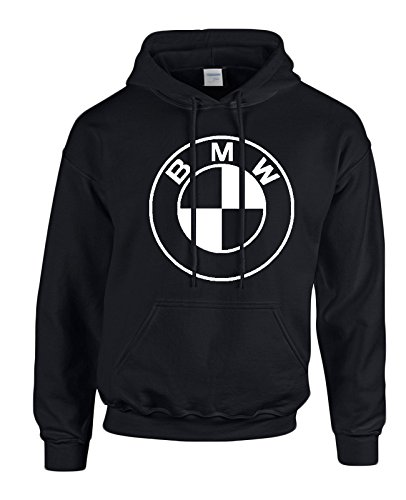 BMW White Logo on Black Hooded Sweater / Sweatshirt (Hoodie) - SIZE MEDIUM