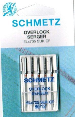 Schmetz Nähmaschinennadeln für Overlockmaschinen ELx705CF 80/12 SUK (Jersey)