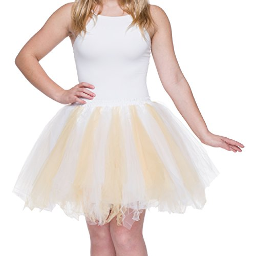 Dancina Women's Adult Vintage Petticoat Tulle Tutu Skirt [Sticker XXL],White / Gold,Plus Size]()