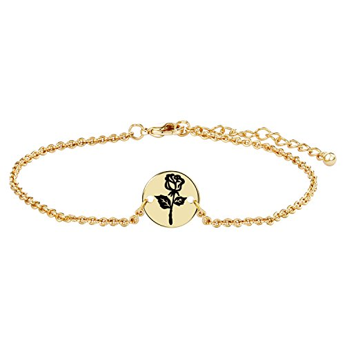 Karacat Rose Flower Women Initial Bracelet - Romance Gold Plated Carved Black Rose Flower Disc Bracelet For Womens,Grils,Personalized Gift