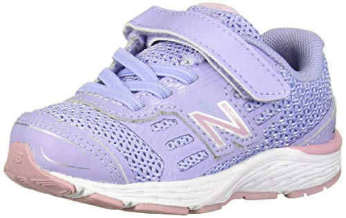 New Balance Girls' 680v5 Hook and Loop Running Shoe, Clear Amethyst/Oxygen Pink, 6 XW US ()
