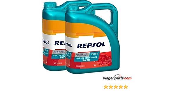 Aceite motor REPSOL Élite Long Life 50700/50400 5W-30 10 LITROS (2x5 lts): Amazon.es: Coche y moto