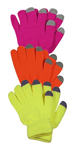 Price comparison product image Peach Couture Bright Neon Texting Winter Gloves For iPhone iPad Android Any Touch Screen 3 Pack Pink Orange Yellow