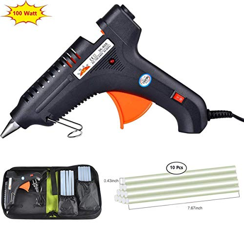 DAZL 100W Hot Glue Gun with case Rapid Heating Technology Flexible Trigger for DIY Small Arts Craft Projects Household& Sealing and Quick Repairs (10pcs Glue Sticks) by DAZL
