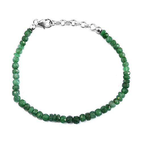 Shop LC Delivering Joy 925 Sterling Silver Platinum Plated Emerald Beaded Bracelet Gift Jewelry for Women Size 7.25