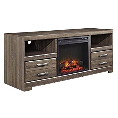 "Ashley Frantin 63"" TV Stand with LED Fireplace in Vintage Aged Brown"