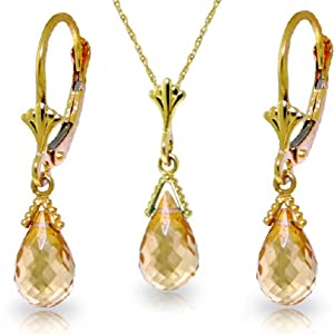 14k Solid Gold Jewelry Set: Natural Briolette Citrine Pendant Necklace and Dangle Earrings