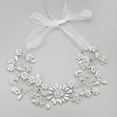 YiLuFanHua MJW&G Femme Strass Cristal Imitation de Perle Casque-Mariage Occasion spéciale Serre-tête 1 Pièce