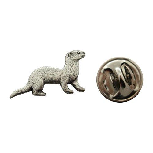 Ferret Mini Pin ~ Antiqued Pewter ~ Miniature Lapel Pin ~ Sarah's Treats & Treasures
