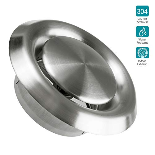 (Stainless Steel Vents, HG POWER Round Stainless Steel Wall Cover Air Vents Bull Nosed External Extractor Outlet Vents (6inch))