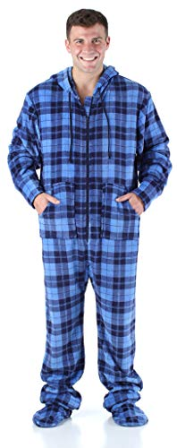 SleepytimePjs Men's Sleepwear Fleece Hooded Footed Onesie Pajamas Blue Plaid – (ST17-M-3034-MED)