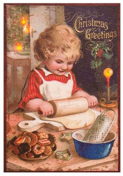 - Radiance LED Lighted Canvas Print Old Time Postcard Christmas Cookie Girl Country Primitive Holiday Décor