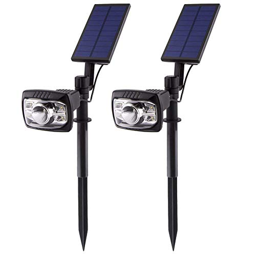 LYCSIX66 Outdoor Solar Powered LED Lights Waterproof Flood Spot Combo Lighting Lamp with Auto On/Off Function – Landscape Security Solar Night Light for Yard Lawn Garden Driveway Yard Patio (2 PACK) For Sale