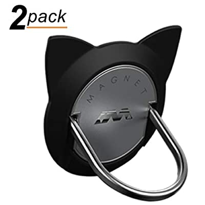 Cat Ring Phone Holder, 2 Pack Phone Ring for Magnetic Car Mount, 360 Rotation Cute Cat Kickstand for iPhone X, 8, 7, 6s, Galaxy S7 S8 and Most of Smartphones (Black) [5Bkhe0814664]