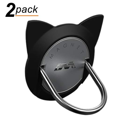 Star Shaped Note Holder - Cat Ring Phone Holder, 2 Pack Phone Ring for Magnetic Car Mount, 360 Rotation Cute Cat Kickstand for iPhone X, 8, 7, 6s, Galaxy S7 S8 and Most of Smartphones (Black)