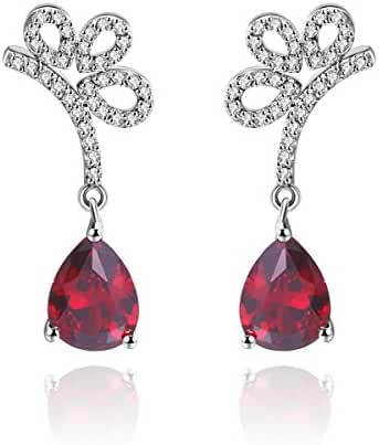 Lady Earrings Cubic Zirconia Rhodium Plated Trillion Shaped Flower Party Evening Jewelry Dangle Earrings