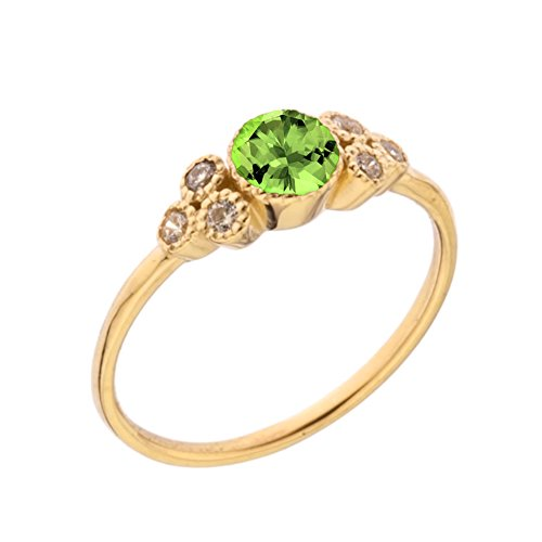 - Dainty 10k Yellow Gold Peridot Floral Cluster Promise Ring with White Topaz (Size 10)
