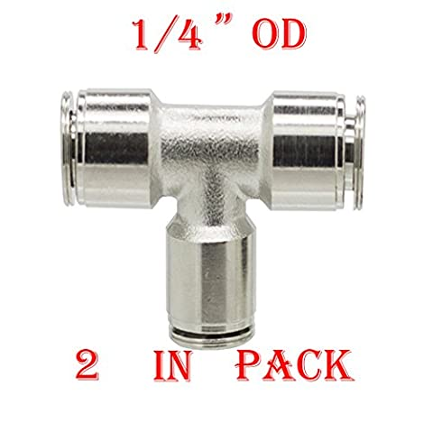 Utah Pneumatic Pack Of 2 Nickel-Plated Brass Push To Connect Fittings 1/4