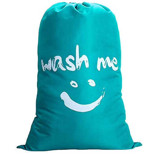 IHOMAGIC Laundry Bag Extra Large Bag Foldable Storage Bag 100L with Drawstring Cord Lock Closure Nylon Dirty Clothes Bag Bathroom Bedroom Home Dormitory Travel Bag 24x36 Fabric Bag 120g Blue-Smile