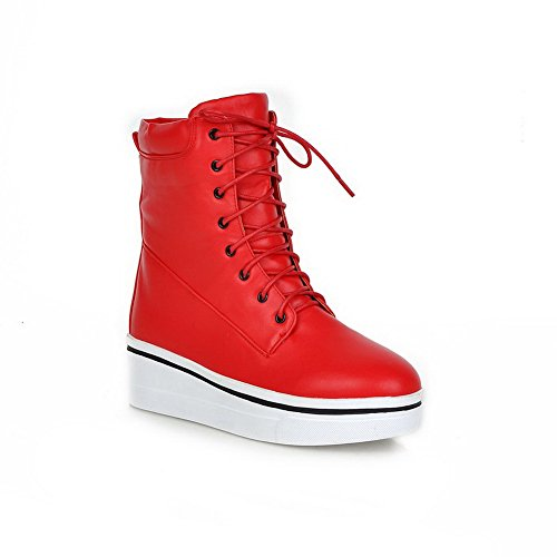A&N Girls Solid Low Heels Casual Imitated Leather Boots Red