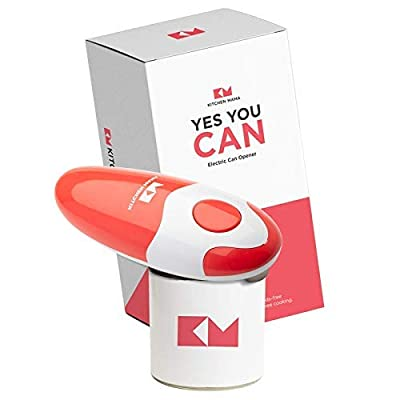 Kitchen Mama Automatic Electric Can Opener: Ergonomic, Easy to Use and Hands free with Smooth Edge - Portable and Battery Operated Can Opener - Use for Everyday Cooking (Red)