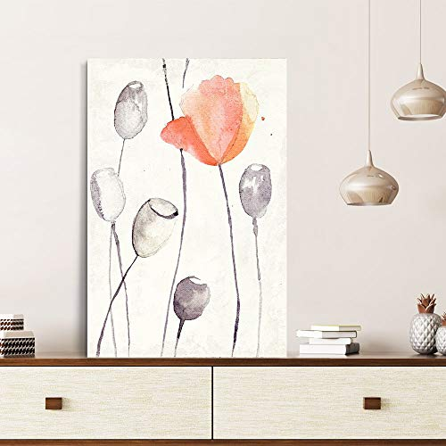 Canvas Prints Wall Art - Canvas Wall Art - Watercolor Style Poppy Flower and Poppy Pods - Giclee Print Gallery Wrap Modern Home Decor Ready to Hang - 24