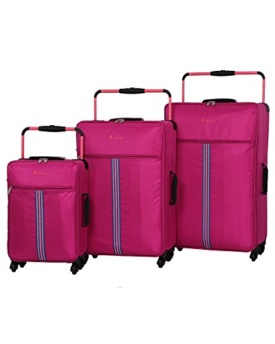 it luggage World's Lightest Tourer (33''/29''/21.5'') 4 Wheel Lightweight 3-Pc Set, Dark Pink with Camellia Rose Trim by IT Luggage