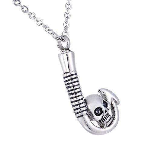 Hooami cremation jewelry skull fish hook pendant keepsake for Fish cremation jewelry