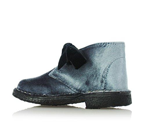 EUREKA - Grau-blaue Schuhe mit Schnürsenkel, aus Samt, Mädchen