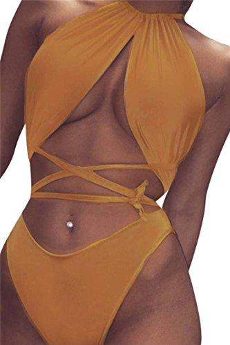 Orange Cross (Kisscy Women's High Neck Crisscross Bandage One Piece Monokini Swimsuit ,High Neck)